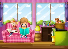 Boy and girl reading book on sofa