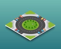 City isometric freeway traffic on the street road vector