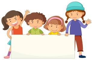 Banner template with cute children vector