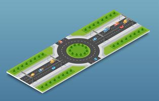 City isometric freeway traffic on the street road