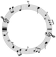 Runde Rahmenvorlage mit Musiknoten auf Skalen