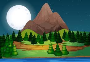 Ett vackert landskap på natten