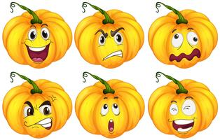Pumpkins with different facial expressions