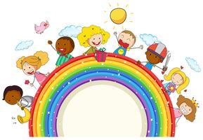 Doodle kids on the rainbow vector