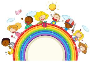 Doodle niños en el arcoiris