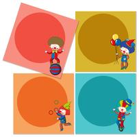 Banner template with circus clowns vector