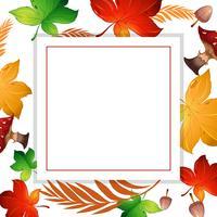 Hoja de otoño y marco de setas
