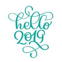 Hola 2019 años. Números escritos a mano en el banner. Etiquete el ejemplo del vector en un fondo blanco, caligrafía moderna del cepillo