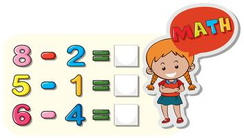 Girl and subtraction questions on board