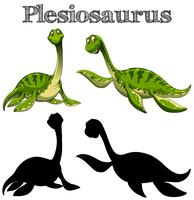 Two plesiosaurus with silhouette on white background
