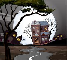 Haunted house at the end of the road vector