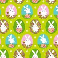 cute Easter bunny pattern on green background