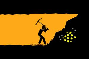Person worker digging and mining for gold in an underground tunnel. vector