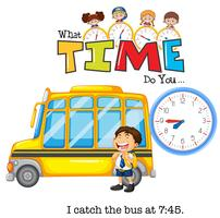 A boy catch a bus at 7:45