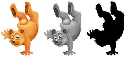 Set of bear character dance