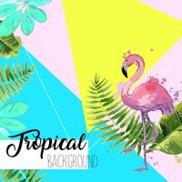 Tropical leaves and flamingo summer banner.