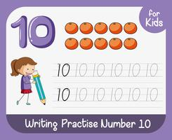 Number ten tracing worksheets