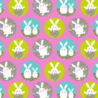 Easter bunny pattern with flower eggs on pink background