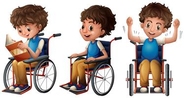 Boy in wheelchair doing three things vector