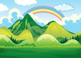 Paisaje natural y arcoiris vector