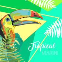 Tropical leaves and toucan summer banner.