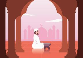 Musulman lisant le vecteur Al Quran