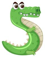 Cartoon green crocodile number five