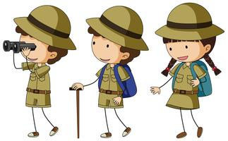 Tre barn i scout uniform