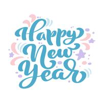 Texto azul del vector de las letras de la caligrafía del vintage de la Feliz Año Nuevo. Para la página de lista de diseño de plantilla de arte, estilo de folleto de maqueta, portada de banner, folleto de impresión de folletos, póster