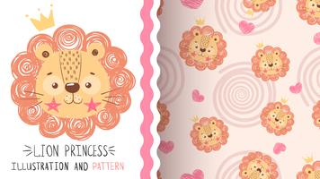 Cute baby lion - seamless pattern.