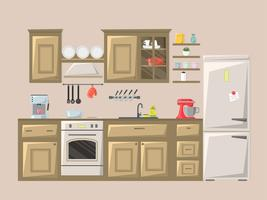 Kitchen interior. Vector illustration.