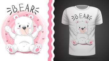 Cute bear - idea for print t-shirt vector