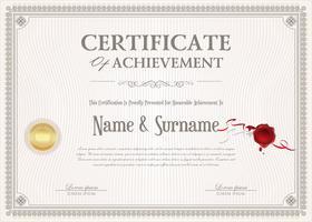 Zertifikat der Leistung Retro-Design-Vorlage