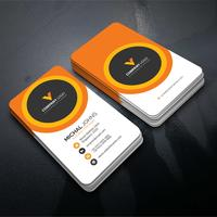 Orange and black corporate card