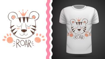 Cute tiger - idea for print t-shirt