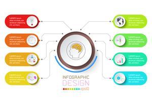 Geschäftsinfografik mit 8 Schritten.