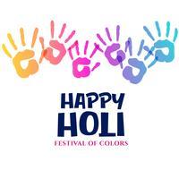 färgglada händer intryck för holi festival