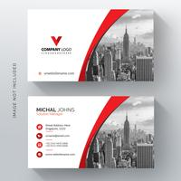 Red shape visit card with photo city