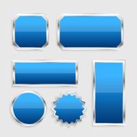 blue glossy buttons set with metallic frame