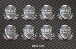 Set van Realistic Vector Glass Trophy Awards.