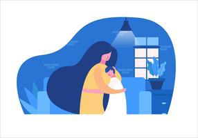 Mom ans Son at Mother's Day Vector Flat Illustration
