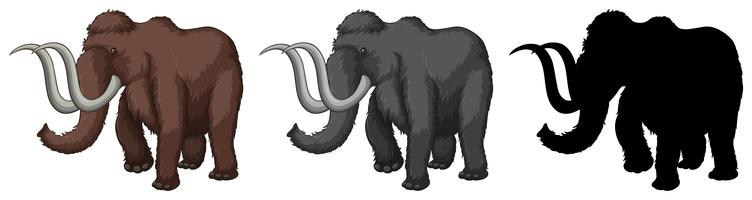 Set of mammoth cartoon character