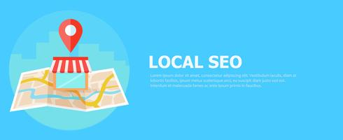 Banner seo locale, mappa e acquista in vista realistica. illustrazione piatta