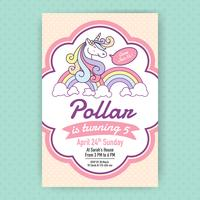 Cute unicorn birthday party invitation illustration design.