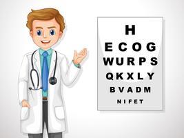 Oculista mostrando um gráfico de olho