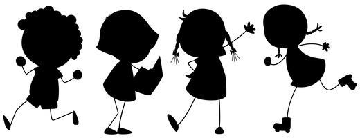 Een reeks silhouetkinderen