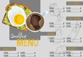 Folleto de menú de cafetería, diseño de plantilla de restaurante.