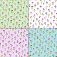 spring floral patterns on pastel backgrounds vector