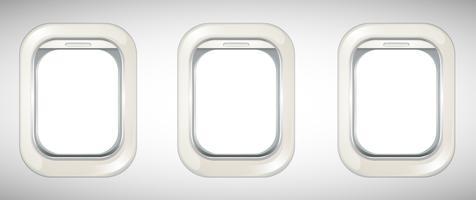 Three windows on airplane