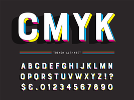 Alfabeto geométrico na moda colorido